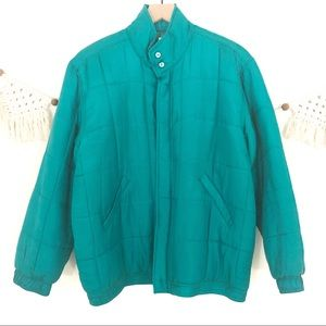 Vintage 80's 100% Silk Bright Teal Puffer Jacket